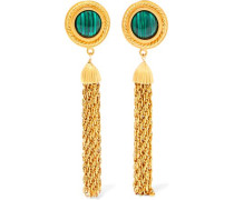 Gold-tone and stone clip earrings