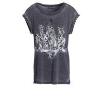 Metallic printed cotton-blend t-shirt