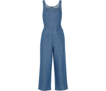 Cotton And Linen-blend Chambray Jumpsuit Mittelblauer Denim