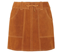Belted Suede Mini Skirt Camel