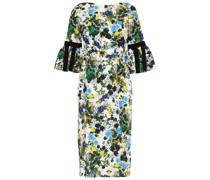 Alexandra Bow-embellished Floral-print Cloqué Midi Dress