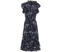 Bedrucktes Schluppenkleid aus Georgette mit Rüschen