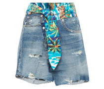 Printed Cotton Poplin-trimmed Distressed Denim Shorts