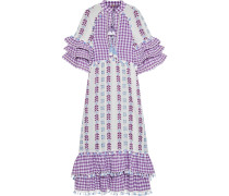 Ruffled Broderie Anglaise-trimmed Embroidered Cotton-gauze Midi Dress