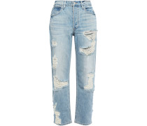 Distressed Mid-rise Straight-leg Jeans