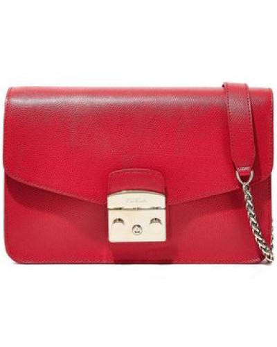 Woman Metropolis Textured-leather Shoulder Bag Red