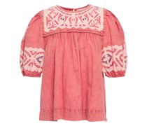 Aleida Gathered Embroidered Washed-cotton Top