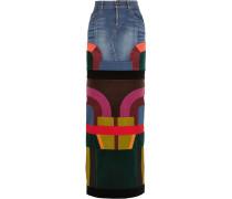Satin And Velvet-paneled Stretch-denim Maxi Skirt Mittelblauer Denim