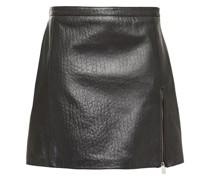 Zip-detailed Croc-effect Leather Mini Skirt
