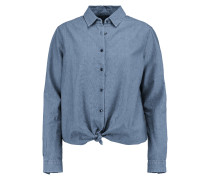 Tie-front Cotton-chambray Shirt Mittelblauer Denim