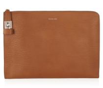 Textured-leather Clutch Braun