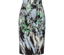Printed Cotton-blend Pencil Skirt Mehrfarbig