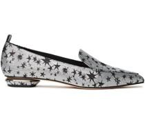 Metallic Jacquard Loafers
