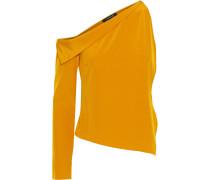 One-sleeve Draped Silk Crepe De Chine Top