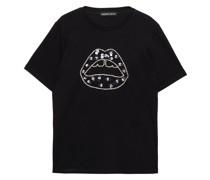 T-shirt aus Baumwoll-jersey mit Pailletten und Kristallen