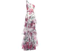 One-shoulder Satin-trimmed Floral-print Organza Gown Ivory
