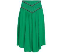 Talo Shirred Embroidered Crepe De Chine Skirt