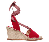 Roxane Suede Espadrille Wedge Sandals Rot