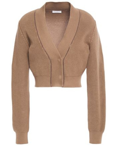 Woman Bead-embellished Cotton Cardigan Light Brown