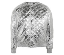 Quilted Metallic Leather Bomber Jacket Silber