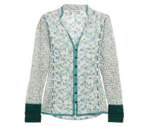 Floral-print embroidered cotton and silk-blend gauze shirt
