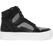 Bosley leather and stretch-knit high-top sneakers