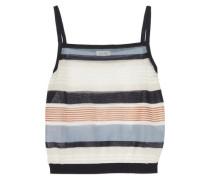 Cropped striped cotton-blend tank