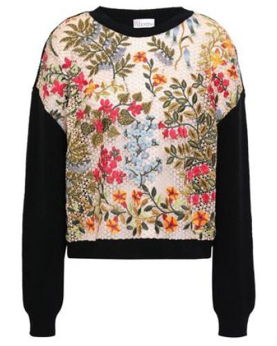 Macramé Wool Sweater Black