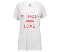 Without Love Printed Modal And Cotton-blend T-shirt Weiß