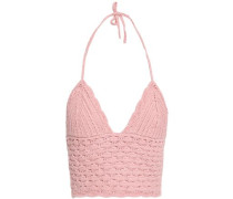 Cropped Crocheted Cotton Halterneck Top Pink