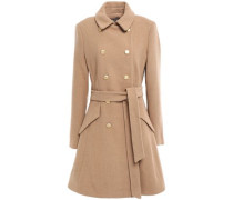 Double-breasted Brushed Wool-blend Coat Camel Size 12