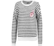 Appliquéd Striped Knitted Sweater Schwarz