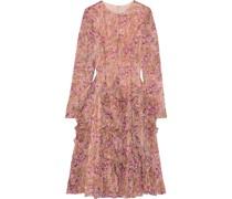 Flared Ruffled Floral-print Georgette Dress