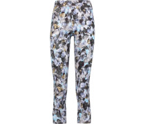 Cropped Printed Stretch-jersey Leggings Mehrfarbig