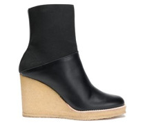 Paneled leather and stretch-knit wedge ankle boots