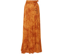 Tie-dyed Plissé Silk-chiffon Maxi Skirt Camel