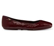Minnie Patent Textured-leather Ballet Flats Burgunder