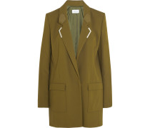 Embellished Leather-trimmed Crepe Mini Dress Armeegrün