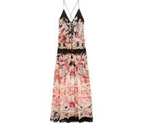 Phoenix printed silk-georgette gown