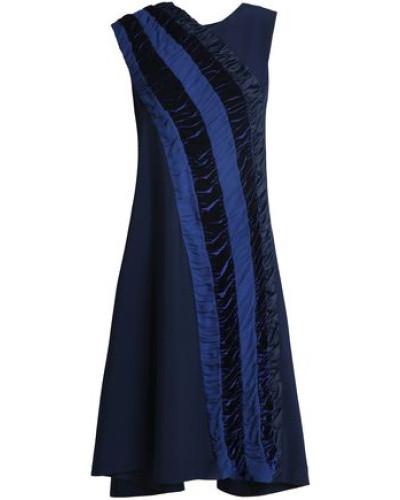 Shirred Velvet And Georgette-trimmed Crepe Dress Navy