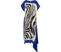 Shira Printed Silk Midi Dress Königsblau
