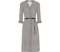 Leppard belted houndstooth stretch-cady dress