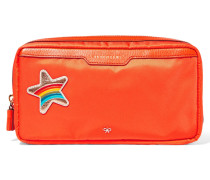 Suncreams Leather-trimmed Shell Cosmetics Case Orange