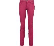 Embellished Low-rise Slim-leg Jeans Burgunder