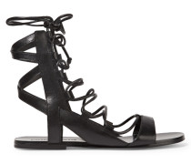 Bunny Lace-up Leather Sandals Schwarz