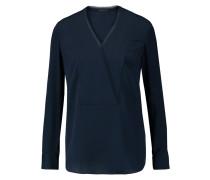 Ramalla Wrap-effect Silk Blouse Navy