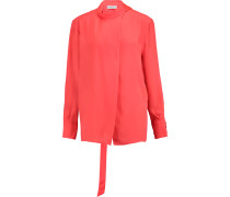 Sinai Tie-neck Silk Shirt Orange