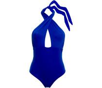 Woman Cutout Halterneck Swimsuit Bright Blue