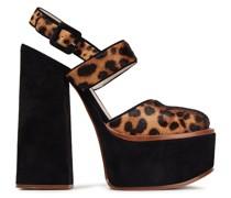 Leopard-print Calf Hair And Suede Platform Pumps