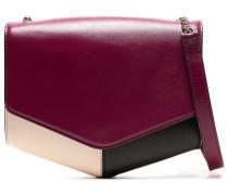 Woman Paneled Leather Shoulder Bag Plum
